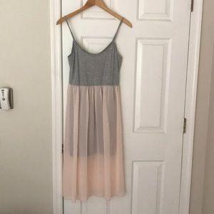 Gray and pink sleeveless dress